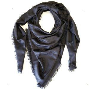 Fendi Silk Wool Summer Shawl Scarf Stole - Black
